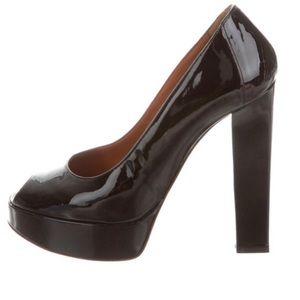 ef43f1cfc3d Black patent leather Lanvin peeptoe platform pumps